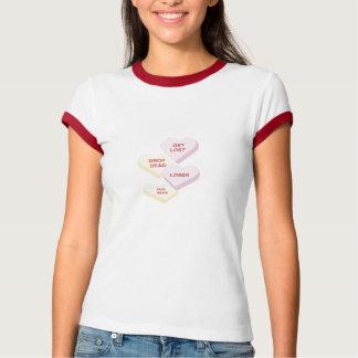 反VdayキャンデーのハートのTシャツ Tシャツ
