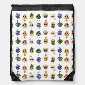 収穫のかわいこちゃん: 分類されたパターンドローストリングバッグ ナップサック