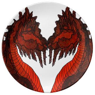 収集できるドラゴンのキスの磁器皿のファンタジー 磁器プレート
