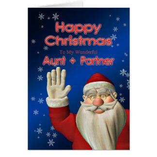 叔母さんおよびパートナーのため、サンタの振ること カード
