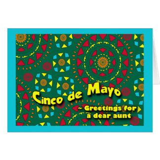 叔母さんのカラフルなモザイク模様のためのCinco deメーヨー カード