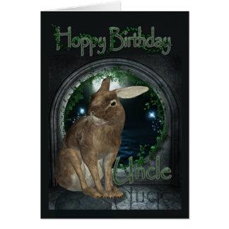叔父さんバースデー・カード-ウサギとのホップの豊富な誕生日 カード