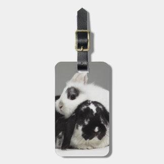 取り除耳付つきに傾く小びと耳付つきのウサギ ラゲッジタグ