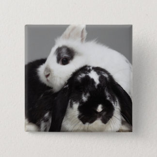 取り除耳付つきに傾く小びと耳付つきのウサギ 5.1CM 正方形バッジ