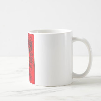 取付けられる赤の鉛筆のスケッチを刺しました コーヒーマグカップ