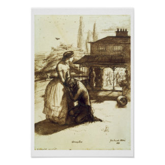 受け入れられて、1853年(紙のペン及び茶色インク) ポスター