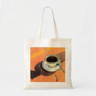 、受皿、影が付いているスプーンヴィンテージのコーヒー トートバッグ