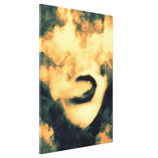 口の煙のVapeのグランジな芸術 キャンバスプリント
