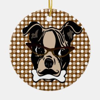 口の髭、接眼レンズ及び骨を搭載するかわいい犬 セラミックオーナメント