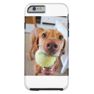口のiPhoneの場合の球を持つVizsla犬 ケース