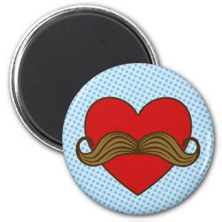 口ひげのバレンタインのハート マグネット