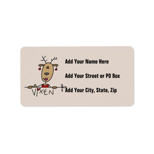 口やかましい女のトナカイのクリスマスのTシャツおよびギフト 宛名ラベル