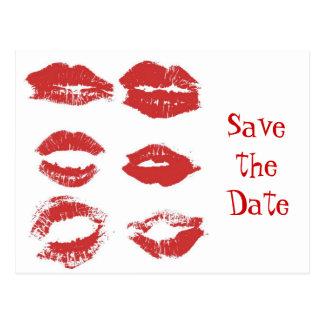 口紅のキス-日付を救って下さい ポストカード