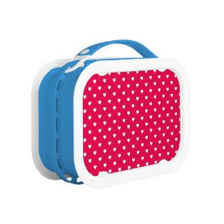 口紅のピンクの白い水玉模様のハート ランチボックス
