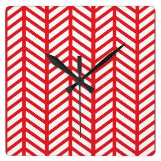 口紅の赤いシェブロンのフォルダー スクエア壁時計