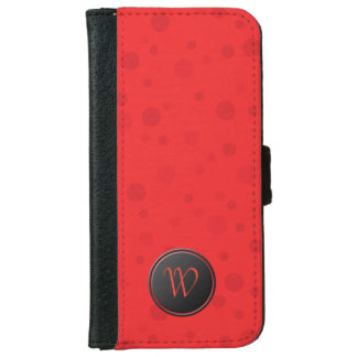 口紅の赤い水玉模様のモノグラム iPhone 6/6S ウォレットケース