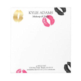 口紅は の黒い及びピンクの名前をカスタムするを示します ノートパッド