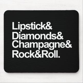 口紅及びダイヤモンド及びシャンペン マウスパッド