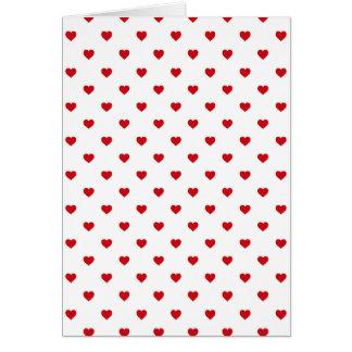 口紅白の赤いキャンデーの水玉模様のハート カード