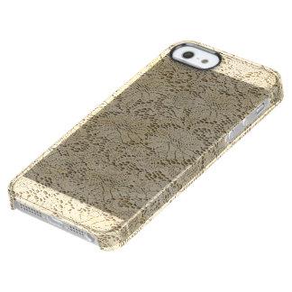 古いかぎ針編みのレースの花柄パターン + あなたのアイディア クリア iPhone SE/5/5sケース