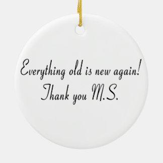 古いすべては再度新しいです! M.S.ありがとう セラミックオーナメント