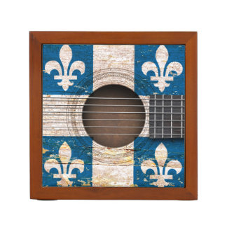 古いアコースティックギターのケベックの旗 ペンスタンド