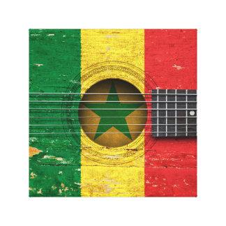 古いアコースティックギターのセネガルの旗 キャンバスプリント