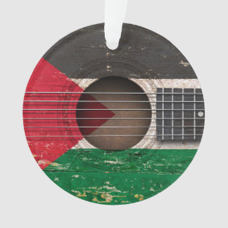古いアコースティックギターのパレスチナの旗 オーナメント