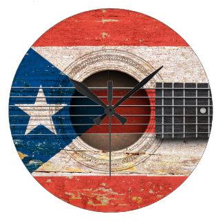 古いアコースティックギターのプエルトリコの旗 ラージ壁時計