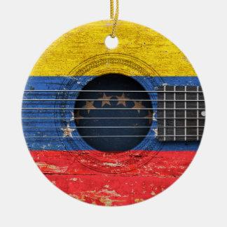 古いアコースティックギターのベネズエラの旗 セラミックオーナメント