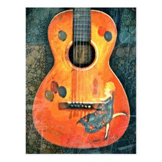 古いアコースティックギターの郵便はがき ポストカード