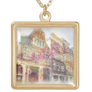 古いアムステルダムの通り ゴールドプレートネックレス