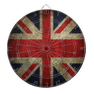 古いアンティークのイギリスのイギリスの英国国旗の旗 ダーツボード