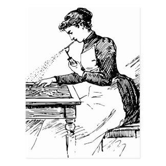 古いエアブラシを使用している女性 ポストカード