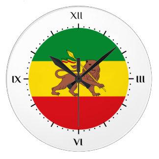 古いエチオピアの旗 ラージ壁時計