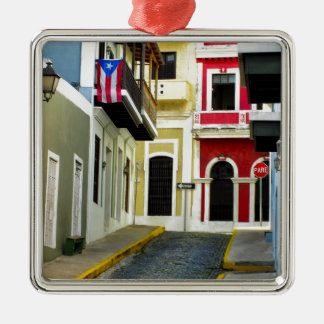古いサンファンプエルトリコの色 シルバーカラー正方形オーナメント