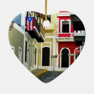 古いサンファンプエルトリコの色 セラミックオーナメント