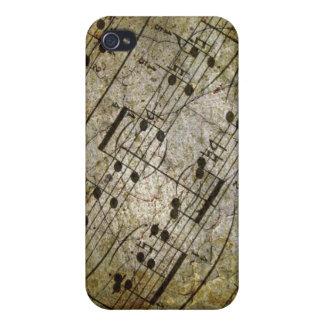 古いシートの楽譜、グランジな音楽ノート iPhone 4 ケース