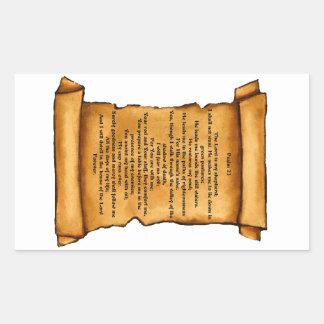 古いスクロールの賛美歌23: パステル調の芸術: 聖なる書物、経典 長方形シール