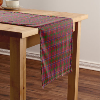 古いスコットランドの一族のMacRaeの赤いタータンチェック格子縞 ショートテーブルランナー