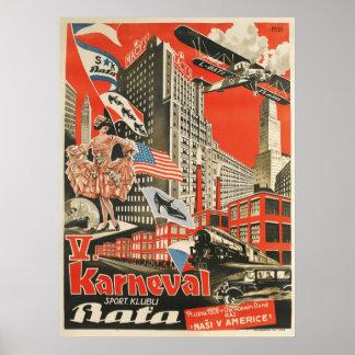 古いソビエトチェコのプロパガンダポスターの重版 ポスター