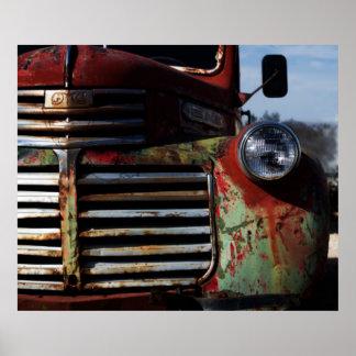 古いトラックのグリル ポスター
