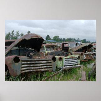 古いトラックの写真のプリント ポスター