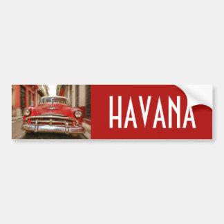 古いハバナ、キューバの通りのカーレース バンパーステッカー