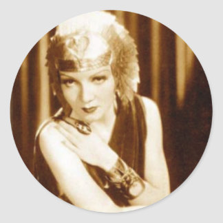 古いハリウッドからの挨拶: Claudette Colbert 丸形シールステッカー