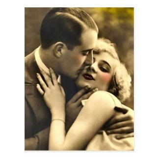 古いファッションのカップルの郵便はがき ポストカード