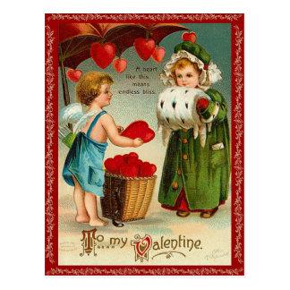 古いファッションのバレンタインの郵便はがき ポストカード