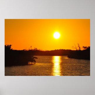 古いブラインドのパスのSanibelの島の日没ポスター ポスター