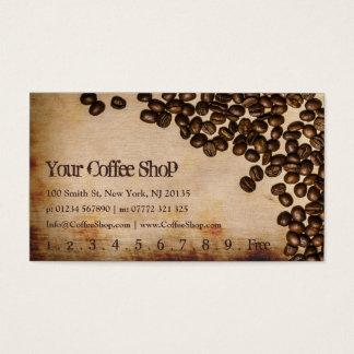 古いヘシアンのコーヒー豆の写真-パンチカード 名刺