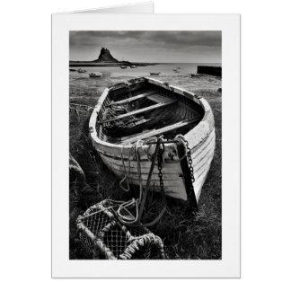 古いボート、Lindisfarne、ノーサンバーランド カード